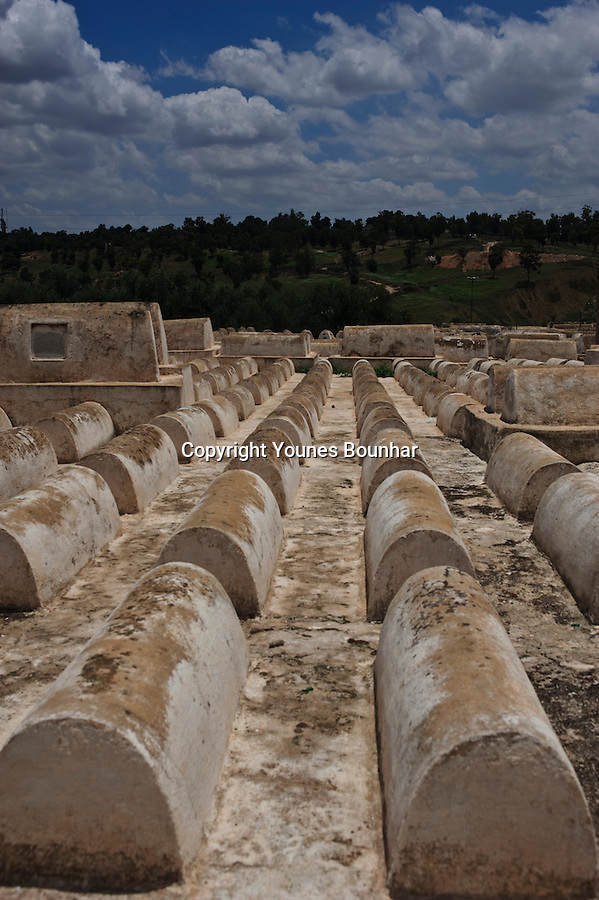 Tombs and graves in the old Jewish Cemetary in the old medina of Fes' jewish quarters (Mellah)