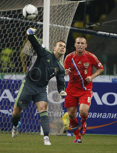 12.10.2012. St Petersburg, Russia. Qualifying for  World Cup 2014   Russia versus Portugal. Igor Akinfeev goalkeeper of Russia distributes the ball