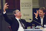 Orhan Pamuk, Nobel-prize-winning Turkish novelist and Jason Cowley at the Sheldonian Theatre, during the FT Weekend Oxford Literary Festival, Oxford, UK. Saturday 29 March 2014. <br />