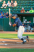 Jose Cuas (6) of the Helena Brewers at bat against the Ogden Raptors in Pioneer League action at Lindquist Field on August 17, 2015 in Ogden, Utah.  Ogden defeated Helena 7-2.  (Stephen Smith/Four Seam Images)