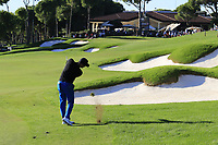 Julian Suri (USA) plays his 2nd shot on the 18th hole during Friday's Round 2 of the 2018 Turkish Airlines Open hosted by Regnum Carya Golf &amp; Spa Resort, Antalya, Turkey. 2nd November 2018.<br /> Picture: Eoin Clarke | Golffile<br /> <br /> <br /> All photos usage must carry mandatory copyright credit (&copy; Golffile | Eoin Clarke)