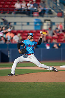 Spokane Indians relief pitcher Francisco Villegas (16) delivers a pitch during a Northwest League game against the Vancouver Canadians at Avista Stadium on September 2, 2018 in Spokane, Washington. The Spokane Indians defeated the Vancouver Canadians by a score of 3-1. (Zachary Lucy/Four Seam Images)