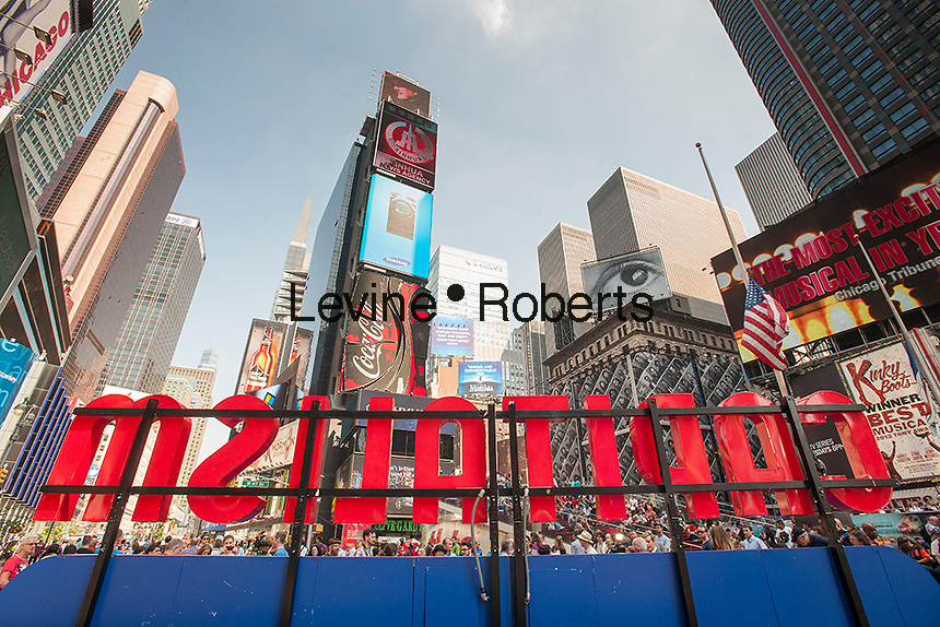 "Capitalism Works For Me!. an interactive sculpture by the artist Steve Lampert is displayed in Times Square in New York on Friday, September 20, 2013. Visitors get to vote ""yes"" or ""no"" with their choice counted on a digital readout on the artwork. The piece attempts to engage passerby in a public forum about the U.S. economy, in the middle of a hotbed of advertising and capitalism itself. The artwork will also be on display Oct. 6-9, Noon to 7PM. (© Richard B. Levine)"
