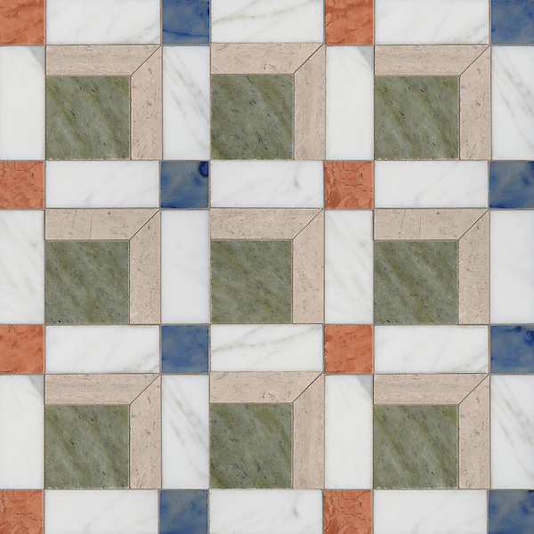 Paseo, a handmade mosaic shown in polished Calacatta, Blue Macauba, Whitewood, Verde Luna, and Rosa Verona, is part of the Illusions® collection by Sara Baldwin and Paul Schatz for New Ravenna.