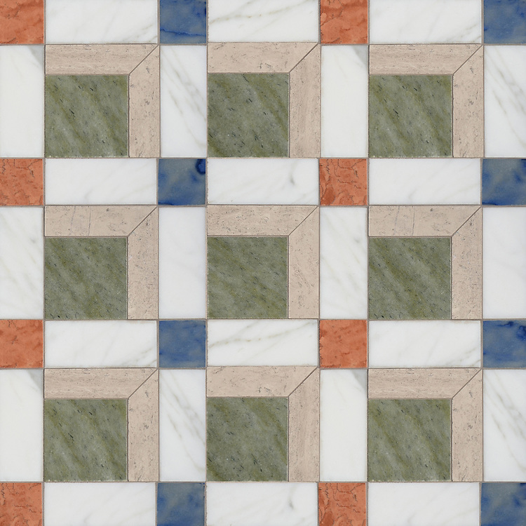 Paseo, a handmade mosaic shown in polished Calacatta, Blue Macauba, Whitewood, Verde Luna, and Rosa Verona, was designed by Paul Schatz as part of the Illusions® collection by New Ravenna.