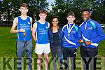 Cian Spillane (Spa), Jordan Kissane, Conor Commane and Basit Oyebanji (All Tralee) stand with Dame Kelly Holmes who visited the Harriers Running Club on Thursday.