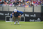 Defending Champion Ross Fisher (ENG) lines up his putt on the 18th green during Day 3 Saturday of The Irish Open presented by Discover Ireland at Killarney Golf & Fishing Club on 30th July 2011 (Photo Fran Caffrey/www.golffile.ie)