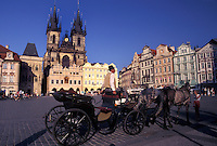 Prague, horse drawn carriage, Czech Republic, Praha, Central Bohemia, Tyn Church, Carriage tour through Old Town Square in the city of Prague.