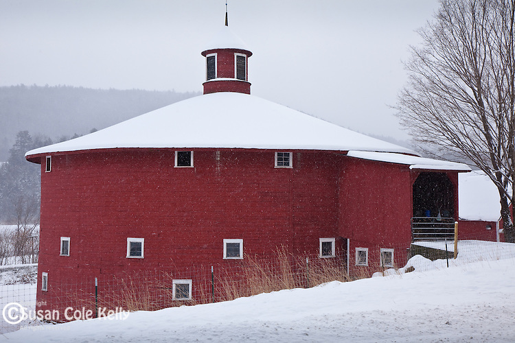 Fresh snow on thr red round barn in Barnet, VT