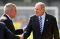 Portsmouth FC Owner, Michael Eisner shakes hands with Portsmouth Manager, Kenny Jackett, ahead of kick-off during AFC Wimbledon vs Portsmouth, Sky Bet EFL League 1 Football at the Cherry Red Records Stadium on 13th October 2018