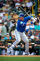 Toronto Blue Jays designated hitter Justin Smoak (14) at bat during a Spring Training game against the Pittsburgh Pirates on March 3, 2016 at McKechnie Field in Bradenton, Florida.  Toronto defeated Pittsburgh 10-8.  (Mike Janes/Four Seam Images)