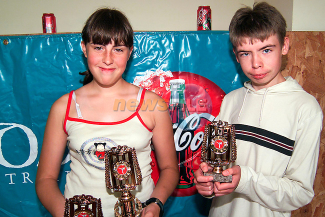 Lyndsey O'Brien, Ballypark, 1st in fighting and 2nd in Kata with Anthony Kennedy from Forest Park who won 3rd in Kata at the Drogheda School of Karate/Drogheda Concentrates Cross Border Cross Community Weekend..Picture: Paul Mohan/Newsfile