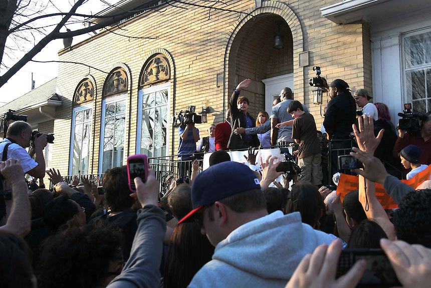Rod Blagojevich bids farewell to the press and supporters in front of his home on Sunnyside and Richmond, Wednesday, March 14, 2012. He will report to prison Thursday.