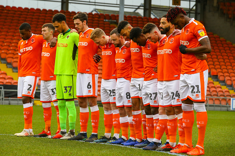 The Blackpool team observe a minutes silence<br /> <br /> Photographer Alex Dodd/CameraSport<br /> <br /> The EFL Sky Bet League One - Blackpool v Shrewsbury Town - Saturday 19 January 2019 - Bloomfield Road - Blackpool<br /> <br /> World Copyright © 2019 CameraSport. All rights reserved. 43 Linden Ave. Countesthorpe. Leicester. England. LE8 5PG - Tel: +44 (0) 116 277 4147 - admin@camerasport.com - www.camerasport.com
