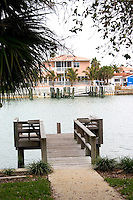 Dock for the channel at Belleair.  Belleair Beach Tampa Bay Area Florida USA