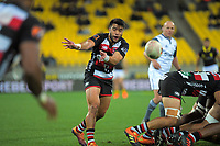 Jonathan Taumateine passes during the Mitre 10 Cup rugby match between Wellington Lions and Counties Manukau Steelers at Westpac Stadium in Wellington, New Zealand on Wednesday, 29 August 2019. Photo: Dave Lintott / lintottphoto.co.nz
