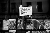 "London, March-July 2016. Reporting the EU Referendum 2016 (Campaign, result and outcomes) observed through the eyes (and the lenses) of an Italian freelance photojournalist (UK and IFJ Press Cards holder) based in the British Capital with no ""press accreditation"" and no timetable of the main political parties' events in support of the RemaIN Campaign or the Leave the EU Campaign. <br />