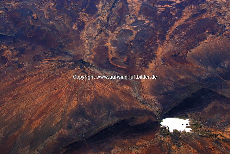 4415 / Oase: AFRIKA, SUEDAFRIKA, 9.01.2007:Landschaft in der Halbwueste Karoo, Luftbild, Oase, Wasser in der Wueste