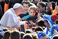"Pope Francis during pastoral visit to the Roman Parish ""Santa Maria Madre del Redentore a Tor Bella Monaca"" on March 8, 2015 in Rome."