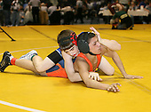 Rafael Ruiz and Anthony Finocchiaro wrestle at the 103 weight class during the NY State Wrestling Championships at Blue Cross Arena on March 8, 2008 in Rochester, New York.  (Copyright Mike Janes Photography)
