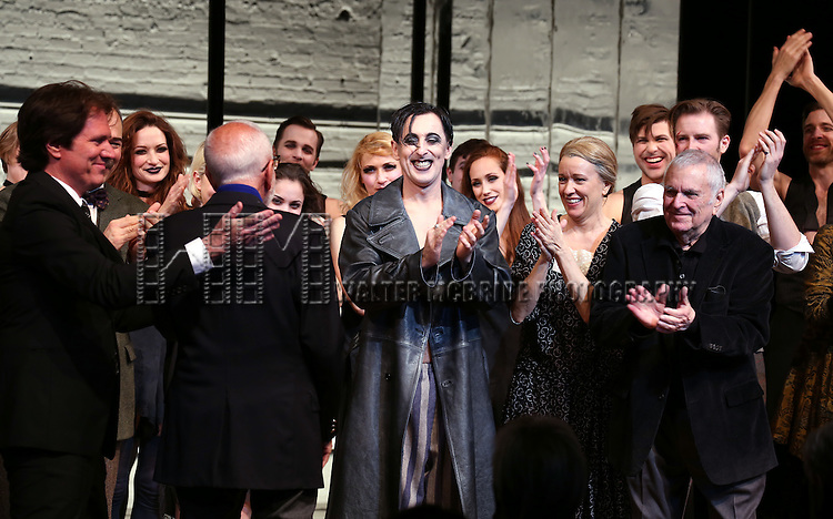 Rob Marshell, Joe Masteroff, Danny Burstein, Michelle Williams, Alan Cumming, Linda Emond, John Kander and Bill Heck during the Broadway Opening Night Performance Curtain Call for 'Cabaret' at Studio 54 on April 24, 2014 in New York City.