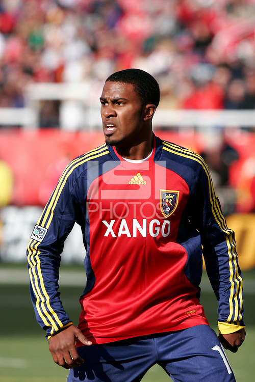 Robbie Findley (10) of Real Salt Lake. The Chicago Fire and Real Salt Lake played to a 1-1 tie during a Major League Soccer match at Rice-Eccles Stadium in Salt Lake City, Utah on March 29, 2008.