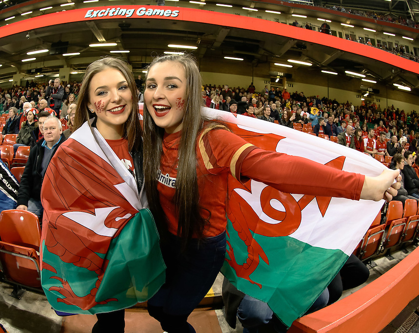 Wales fans enjoy the pre match atmosphere<br /> <br /> Photographer Simon King/CameraSport<br /> <br /> International Rugby Union - RBS 6 Nations Championships 2016 - Wales v Italy - Saturday 19th March 2016 - Principality Stadium, Cardiff <br /> <br /> &copy; CameraSport - 43 Linden Ave. Countesthorpe. Leicester. England. LE8 5PG - Tel: +44 (0) 116 277 4147 - admin@camerasport.com - www.camerasport.com