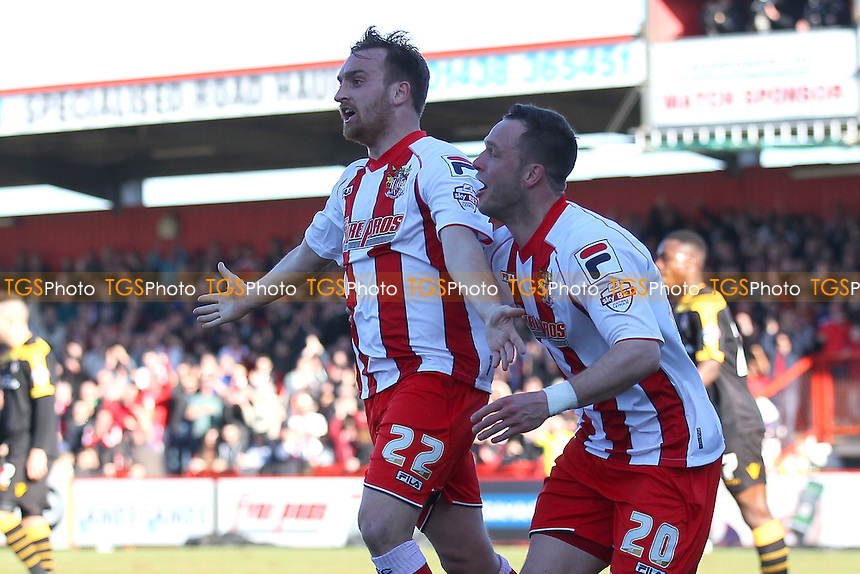Charlie Lee of Stevenage (22) scores the first goal for his team and celebrates with Chris Beardsley - Stevenage vs Newport County - Sky Bet League Two Football at the Lamex Stadium, Broadhall Way, Stevenage - 07/03/15 - MANDATORY CREDIT: Gavin Ellis/TGSPHOTO - Self billing applies where appropriate - contact@tgsphoto.co.uk - NO UNPAID USE
