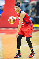 Washington, DC - July 22, 2016: Washington Mystics guard Natasha Cloud (15) in action during game against the Los Angeles Sparks at the Verizon Center in Washington, DC. (Photo by Phil Peters/Media Images International)
