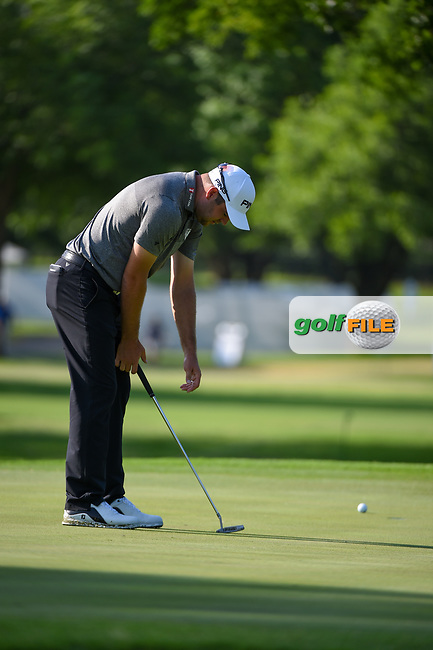 Corey Conners (CAN) reacts to missing his putt on 7 during round 3 of the 2019 Charles Schwab Challenge, Colonial Country Club, Ft. Worth, Texas,  USA. 5/25/2019.<br /> Picture: Golffile | Ken Murray<br /> <br /> All photo usage must carry mandatory copyright credit (© Golffile | Ken Murray)