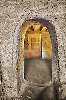 "Interior of an Etruscan ""dado: (dice) tomb known as Tomba Maroi dating form the 7th century BC, Necropoli della Banditaccia, Cerveteri, Italy. A UNESCO World Heritage Site"