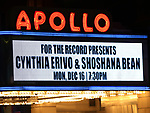 Theatre Marquee for Cynthia Erivo and Shoshana Bean performing in The 2nd Annual Night Divine Holiday Concert at the Apollo Theatre on December 16, 2019 in New York City.