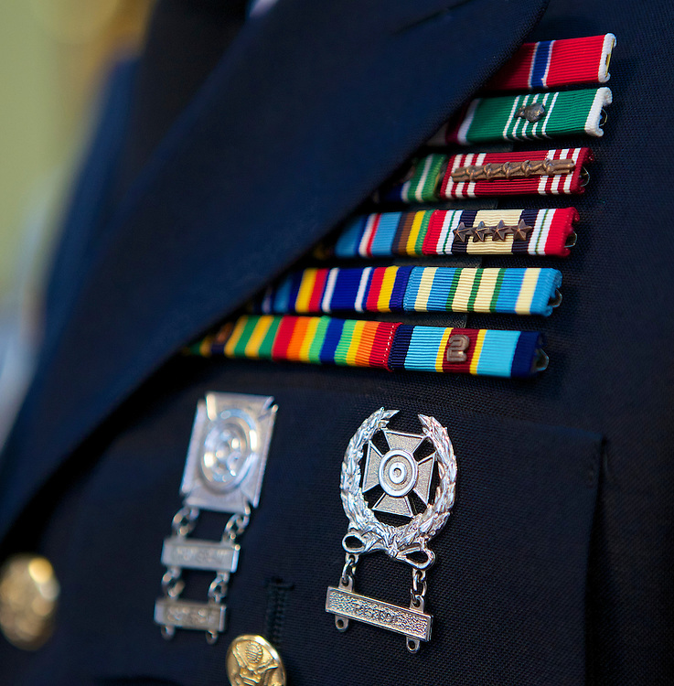 Awards, medals and citations of a military service person's uniform. (DePaul University/Jeff Carrion)