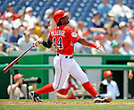 8 June 2008: Washington Nationals' outfielder Lastings Milledge hits a first inning solo home run against the San Francisco Giants at Nationals Park in Washington, DC. The Nationals dropped the afternoon matchup to the Giants 6-3 in their third consecutive loss of the 4-game series...Mandatory Photo Credit: Ed Wolfstein Photo