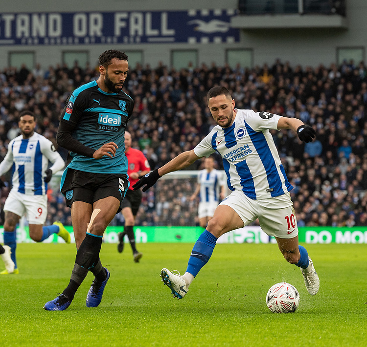 Brighton & Hove Albion's Florin Andone (right) under pressure from  West Bromwich Albion's Kyle Bartley (left) <br /> <br /> Photographer David Horton/CameraSport<br /> <br /> Emirates FA Cup Fourth Round - Brighton and Hove Albion v West Bromwich Albion - Saturday 26th January 2019 - The Amex Stadium - Brighton<br />  <br /> World Copyright © 2019 CameraSport. All rights reserved. 43 Linden Ave. Countesthorpe. Leicester. England. LE8 5PG - Tel: +44 (0) 116 277 4147 - admin@camerasport.com - www.camerasport.com