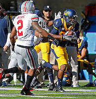 California Golden Bears wide receiver James Grisom (85) makes a touchdown catch against Ohio State Buckeyes cornerback Bradley Roby (1) in the 1st quarter at Memorial Stadium in Berkeley, California on September 14, 2013.  (Dispatch photo by Kyle Robertson)
