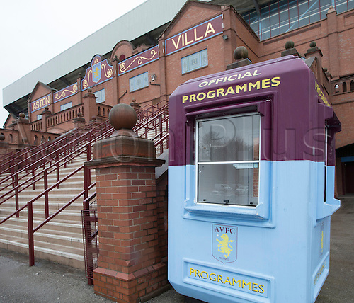 02.04.2016. Villa Park, Birmingham, England. Barclays Premier League. Aston Villa versus Chelsea.  A closed Official Match Day Programmes booth outside the main entrance of Villa Park, home of Aston Villa Football Club.