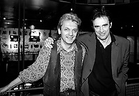 Montreal (Qc) CANADA -  March 3, 1993 File Photo -<br /> <br /> Jean Millaire , Patrick Capdevielle at Capdevielle album launch in LUX restaurant .<br /> <br /> -Photo (c)  Images Distribution