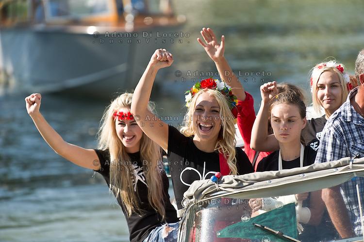 Activists of the feminist movement FEMEN are seen during the 70th Venice International Film Festival on September 3, 2013. (Photo by Adamo Di Loreto/BuenaVista*photo)