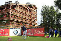 Matthew Fitzpatrick (ENG) tees off the 17th tee during Sunday's Final Round of the 2017 Omega European Masters held at Golf Club Crans-Sur-Sierre, Crans Montana, Switzerland. 10th September 2017.<br /> Picture: Eoin Clarke | Golffile<br /> <br /> <br /> All photos usage must carry mandatory copyright credit (&copy; Golffile | Eoin Clarke)