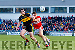 Barry O'Sullvian Dingle in action against Daithi Casey of Dr. Crokes during the Kerry County Senior Club Football Championship Final match between Dr Crokes and Dingle at Austin Stack Park in Tralee, Kerry on Sunday.
