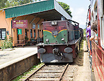 Trains and platform, Pittipola, Sri Lanka, Asia the highest railways station in the country