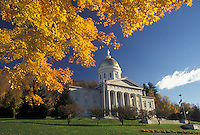 AJ4532, State House, State Capitol, Montpelier, Vermont, The majestic State House is framed with colorful maple leaves in autumn in the capital city of Montpelier in the state of Vermont.