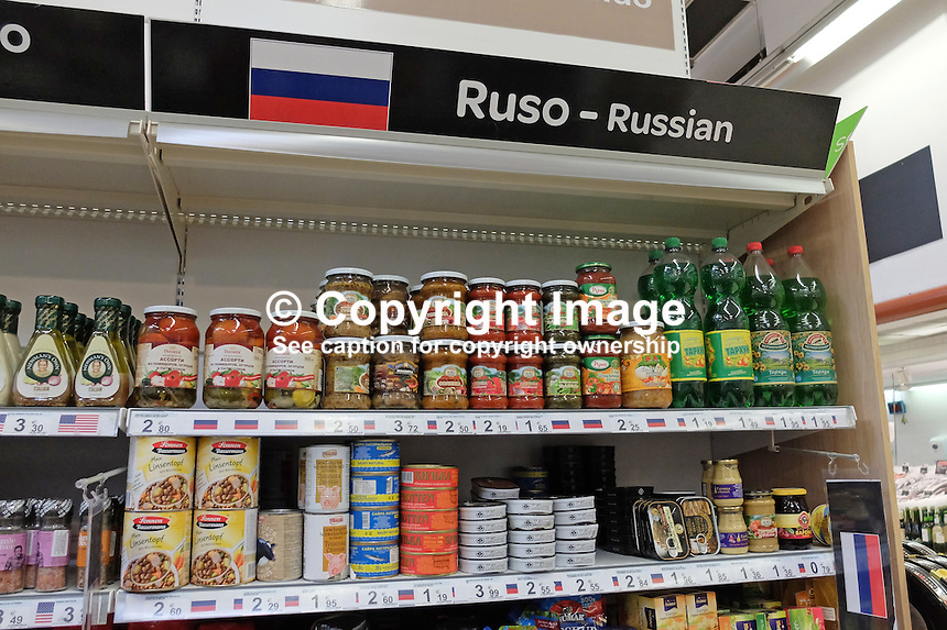 Russian grocery products have dedicated displays in Spanish supermarkets on the Costa del Sol, Spain. March 2015. 201503160654<br />