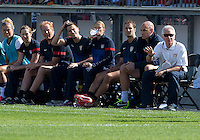 02 June 2013: U.S Women's National Soccer Team head coach Tom Sermanni gives instructions to his players during an International Friendly soccer match between the U.S. Women's National Soccer Team and the Canadian Women's National Soccer Team at BMO Field in Toronto, Ontario.<br /> The U.S. Women's National Team Won 3-0.