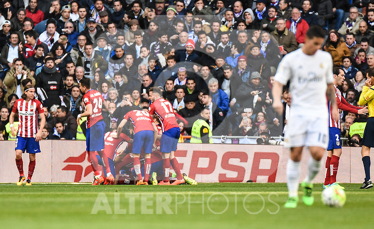 Real Madrid´s James Rodriguez and Atletico de Madrid´s players celebrating a goal during 2015/16 La Liga match between Real Madrid and Atletico de Madrid at Santiago Bernabeu stadium in Madrid, Spain. February 27, 2016. (ALTERPHOTOS/Javier Comos)