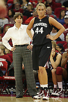 FRESNO, CA - DECEMBER 30:  Tara VanDerveer and Joslyn Tinkle of the Stanford Cardinal during Stanford's 68-46 win over the Fresno State Bulldogs on December 30, 2009 in Fresno, California.