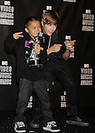 LOS ANGELES, CA. - September 12: Singer Justin Bieber (R) poses in the press room at the 2010 MTV Video Music Awards held at Nokia Theatre L.A. Live on September 12, 2010 in Los Angeles, California.