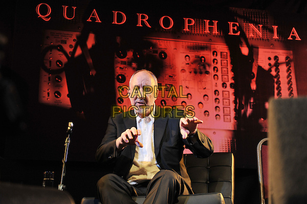 Pete Townshend.'Quadrophenia - The Director's Cut' playback with Q & A and acoustic performance at Bush Hall, Shepherd's Bush, London, England. .9th November 2011.half length sitting interview black suit jacket white shirt beard facial hair hands.CAP/MAR.© Martin Harris/Capital Pictures.