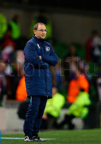 29.03.2016. Aviva Stadium, Dublin, Ireland. International Football Friendly Rep. of Ireland versus Slovakia. Martin O'Neill Manager Rep. of Ireland looks on.